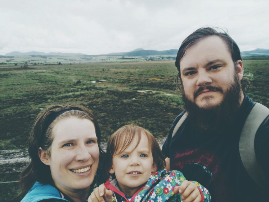 Photo of Kaya, Will and Matilda-Niamh, aka the Eco Misfits, in front of Flanders Moss in Stirlingshire.